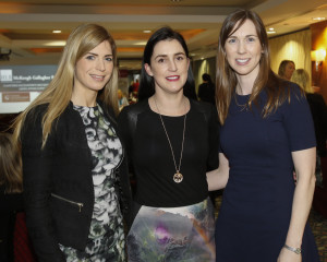 Catriona Pavoni, UL, Sonia Cremin, Brothers of Charity and Cliona Mulcahy, MGM Accountants pictured at the Mid West Society of Chartered Accountants Spring Ladies event, sponsored by HLB McKeogh Gallagher Ryan