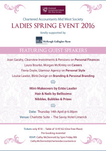 Invitation to the Mid West Society of Chartered Accountants Ladies Event on April 14