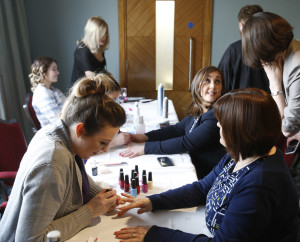 Guests getting thier nails done at the Mid West Society of Chartered Accountants Spring Ladies event, sponsored by HLB McKeogh Gallagher Ryan