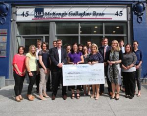 Partners & staff of HLB McKeogh Gallagher Ryan present Milford Hospice with their fundraising cheque