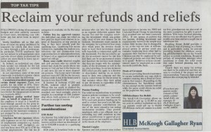 Sarah Kelly's Top Tax Tips Article, as published in the Clare Champion